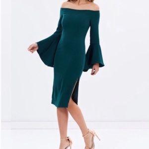 Bardot Teal Solange Off Shoulder Midi Dress| 10